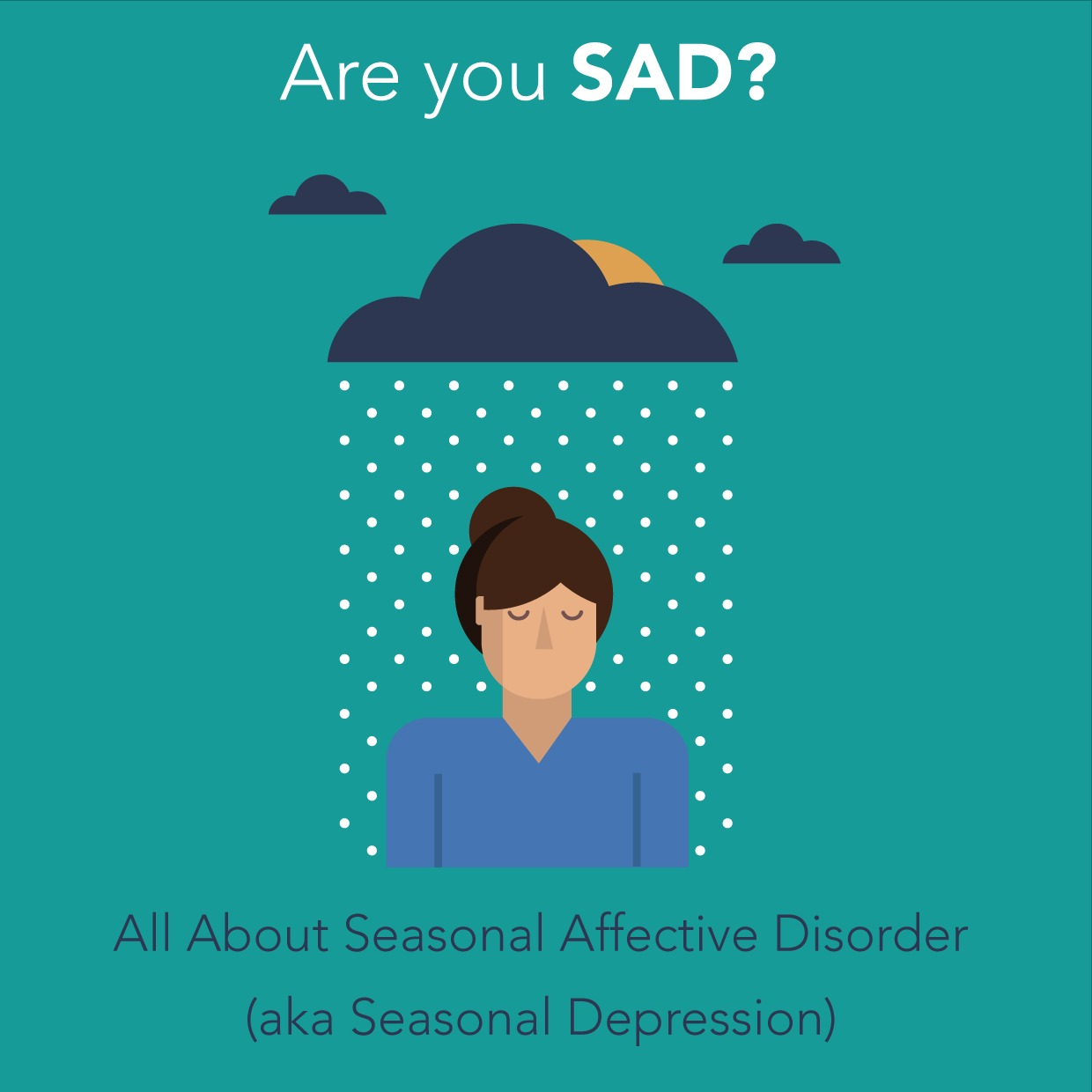 Picture shows drawn woman standing below a raining cloud with the words are you sad abbove the picture and all about seasonal affected disorder underneath