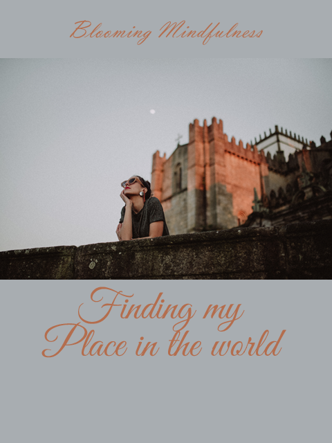 The picture shows a woman leaning on a wall in front of a castle looking thoughtfully at the sky. Written above is the name of the blog, and below the title Finding my place in the world